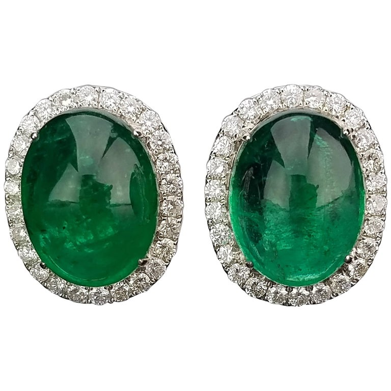 Zambian Emerald Cabochon And Diamond Studs Earring For