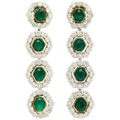 Colombian Emerald and Diamond Long Hanging Earrings