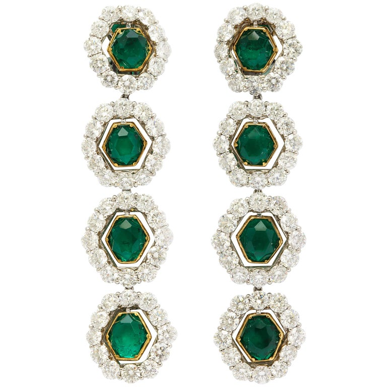 Colombian Emerald And Diamond Long Hanging Earrings For