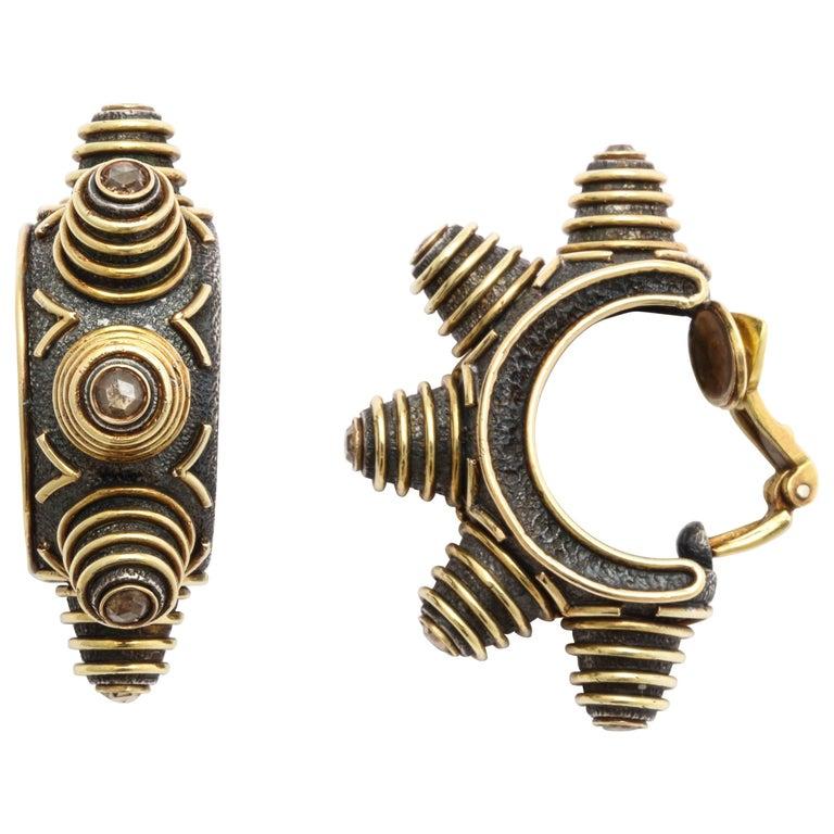 Marilyn Cooperman Zig-Zag Hoop Champagne Diamond Earrings