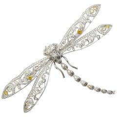 Dramatic Diamond Dragonfly Pin