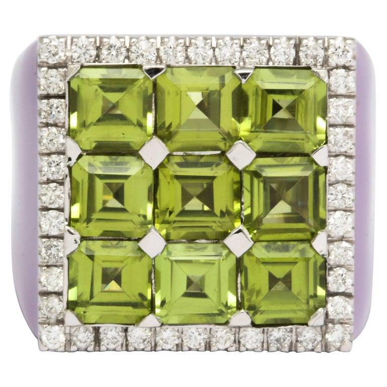 Peridot, Diamond and Purple Enamel Cocktail Ring