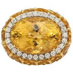 Italian Citrine Diamond Gold Cocktail Ring