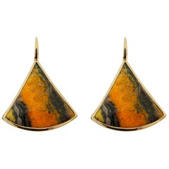 Jona Bumblebee Jasper Yellow Gold Pendant Earrings