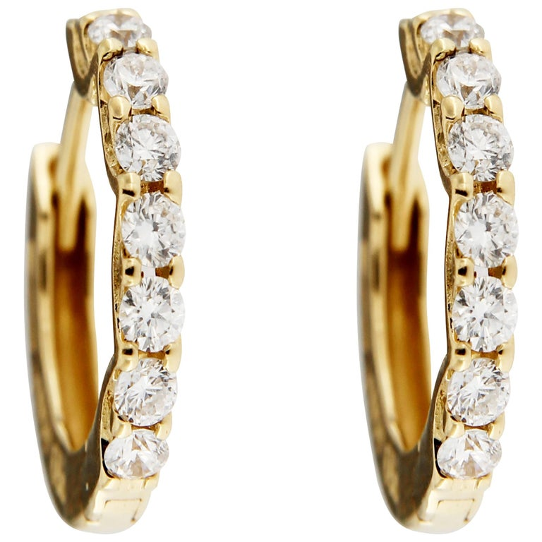 Jona White Diamond 18 Karat Yellow Gold Small Hoop Earrings For Sale