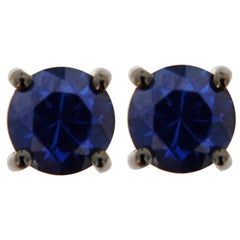 Jona Blue Sapphire 18 Karat White Gold Stud Earrings
