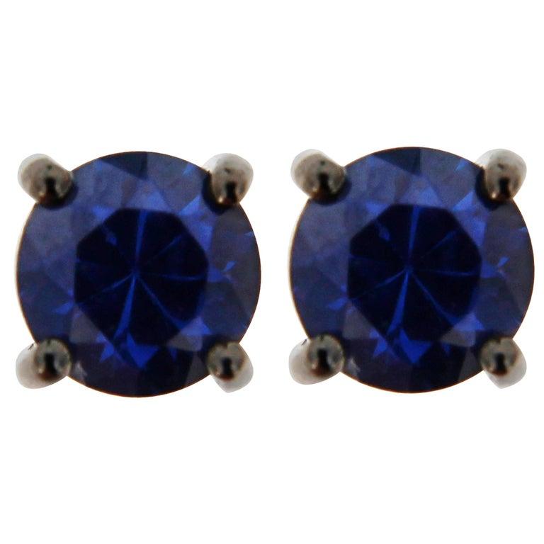 Jona Blue Sapphire 18 Karat White Gold Stud Earrings