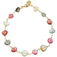 Jona Drop Cut Multi-Color Tourmaline 18 Karat Yellow Gold Bracelet