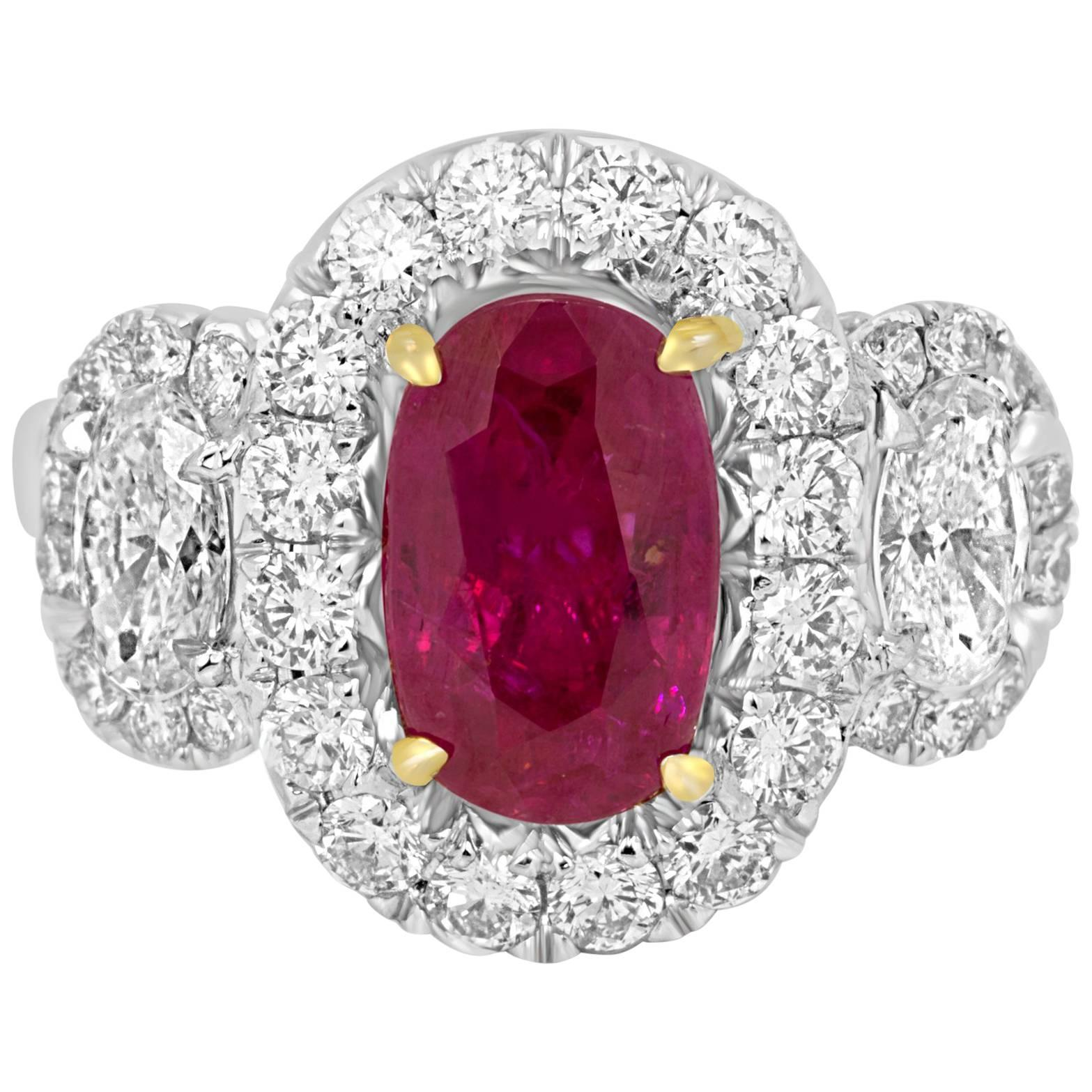 Three Stone GIA Certified No Heat Burma Ruby 2.10Carat Diamond Halo Twotone Ring