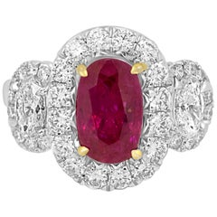 Three Stone GIA Certified No Heat Burma Ruby 2.10Ct Diamond Halo Twotone Ring