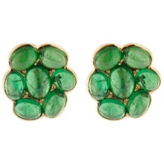 Jona Tsavorite Flower Gold Stud Clip-On Earrings