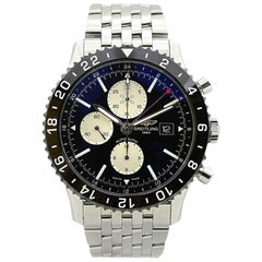 Breitling Stainless Steel Black dial Chronoliner Automatic Wristwatch