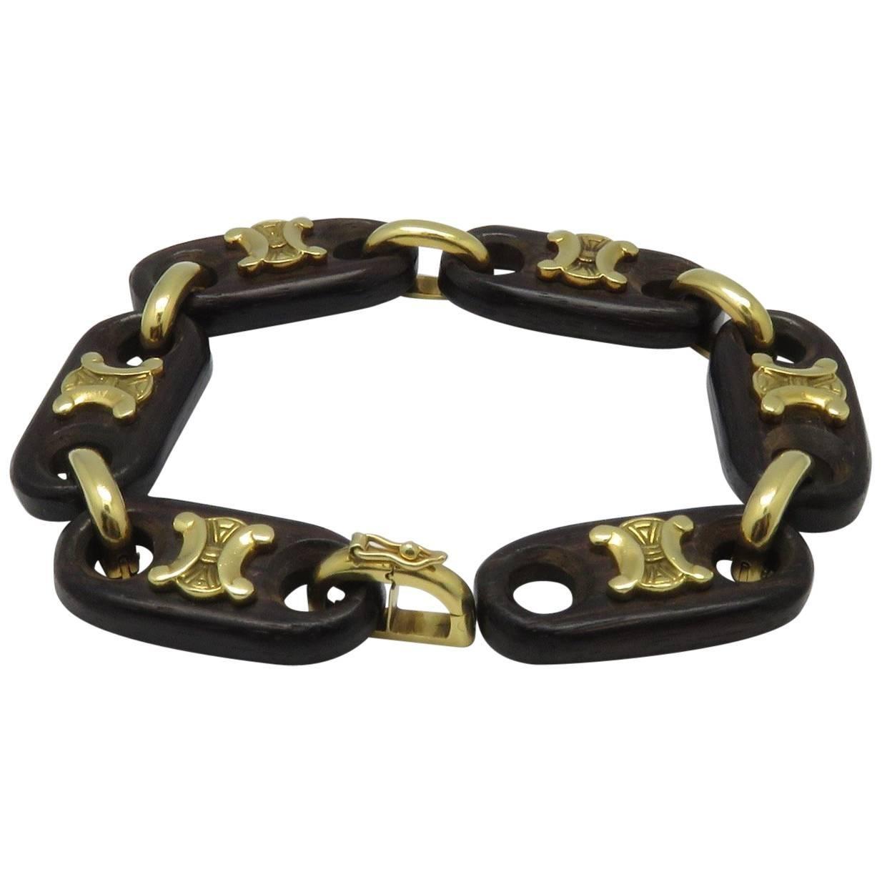 French Celine Wood Yellow Gold Bracelet