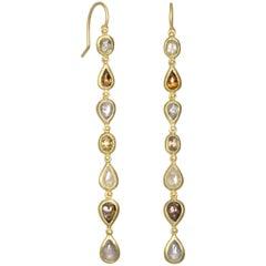 Faye Kim Milky Diamond Gold Line Earrings