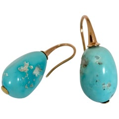 Natural Turquoise and Rose Gold 18 Carat Drop Earrings
