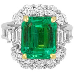 GIA Certified 5.33 Carat Columbian Emerald Diamond Two Color Gold Cocktail Ring