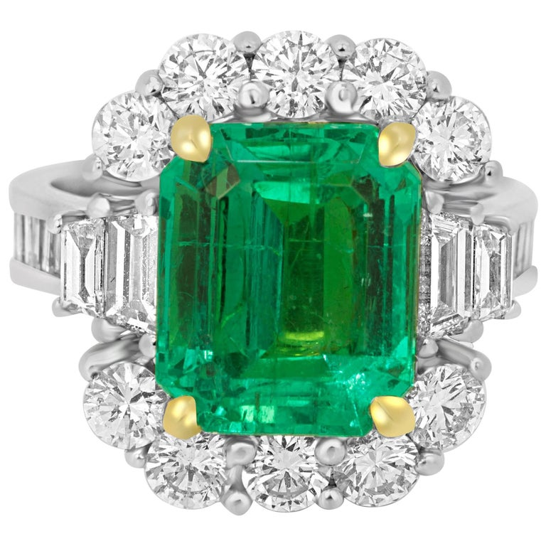 GIA Certified 5.33 Carat Columbian Emerald Diamond Two Color Gold Ring
