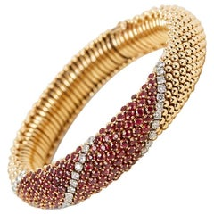 Van Cleef & Arpels 18 Karat Yellow Gold Ruby & Diamond Vintage Bracelet