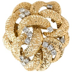 Boucheron 18 Karat Yellow Gold Round Brilliant Cut Diamond Vintage Brooch