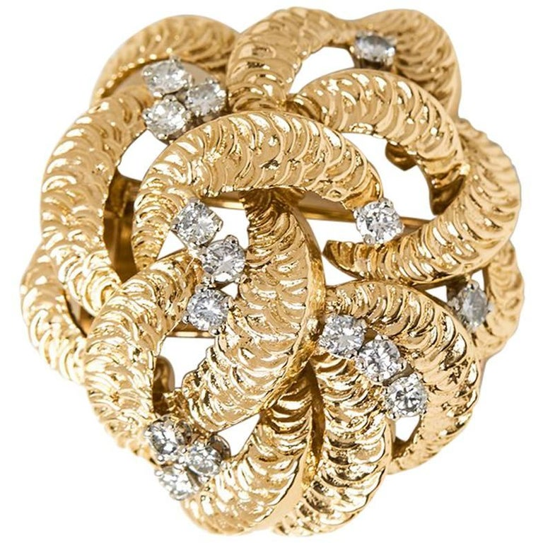 Boucheron Diamond Yellow Gold Brooch