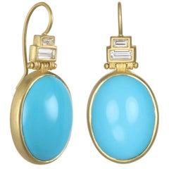 Faye Kim Diamond Turquoise Earrings