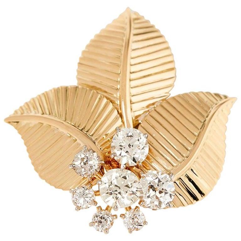Cartier 18 Karat Yellow Gold Diamond Three Leaf Vintage Brooch For Sale