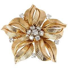 Cartier 18 Karat Yellow Gold 1.09 Carat Diamond Flower Vintage Brooch