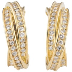 Cartier Trinity Earrings Yellow Gold and Diamond