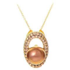 LeVian Brown Pearl Diamond Gold Pendant Necklace