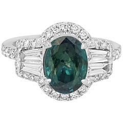 GIA Certified 2.05 Carat Alexandrite Diamond Halo Gold Ring