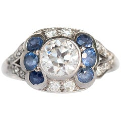 .75 Carat Diamond and Sapphire Platinum Engagement Ring