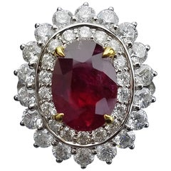Gubelin Certified 3.41 Carat No Heat Burma Ruby Diamond Ring