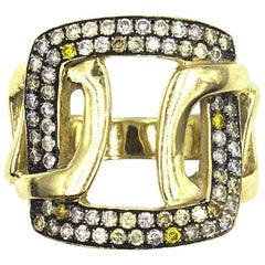 Modern Diamond 18 Karat Yellow Gold Wide Buckle Ring
