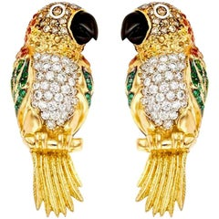Diamond Emerald Ruby and Sapphire 18k Caique Parrot Earrings John Landrum Bryant
