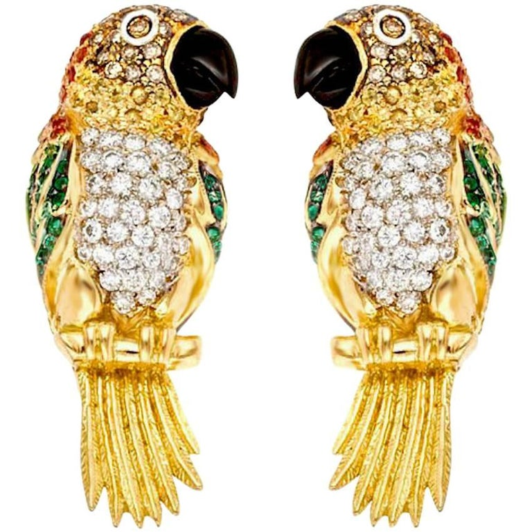 Diamond Emerald Ruby and Sapphire 18k Caique Parrot Earrings John Landrum Bryant For Sale