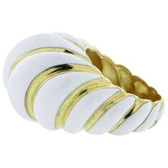 David Webb White Enamel Dome Ring