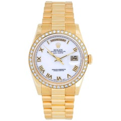 Rolex yellow gold President White Dial Day-Date Automatic Wristwatch ref 118238
