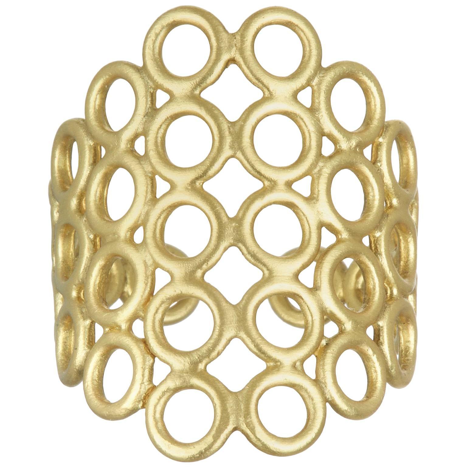 Faye Kim 18 Karat Gold Mesh Ring