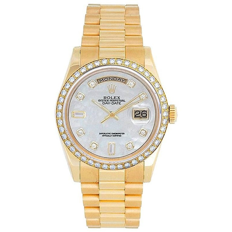 Rolex yellow gold President Day-Date Custom Dial Automatic Wristwatch