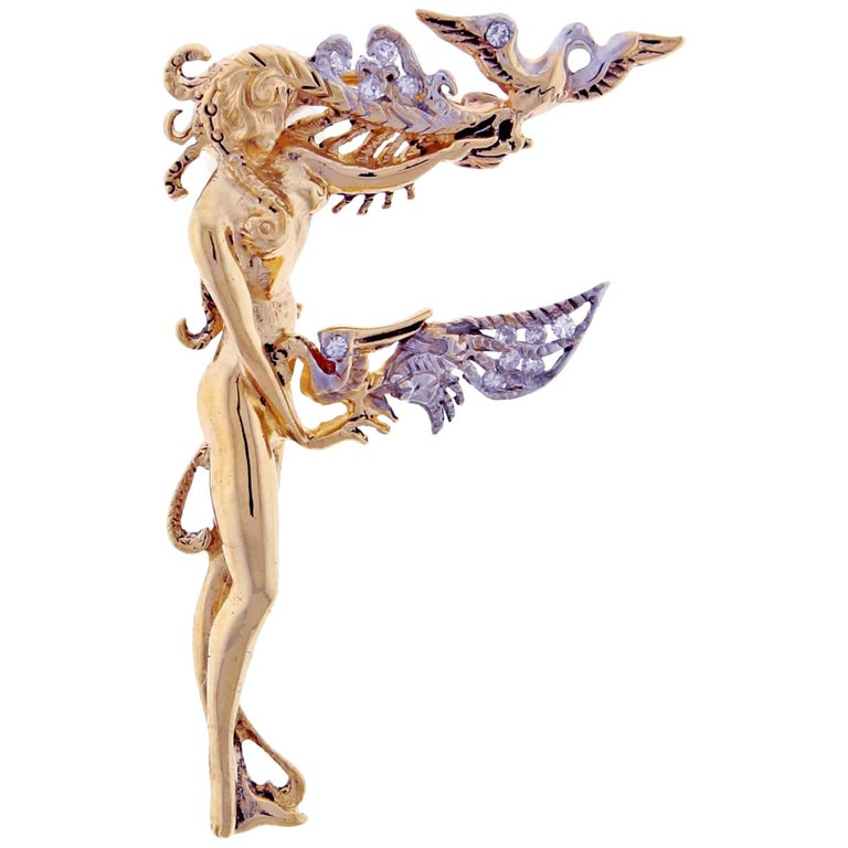 Erte Alphabet Letter F Diamond Nymph Brooch Pin