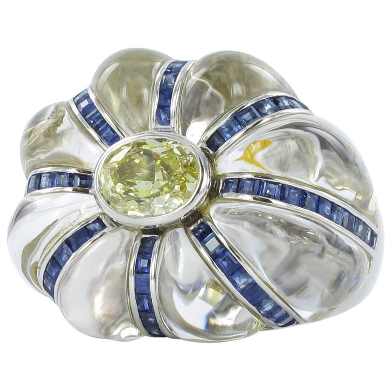 Gübelin Rock Crystal and GIA Certified Fancy Colored Diamond Ring