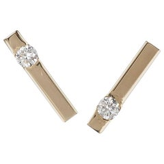 Diamond Bar Stud Earrings in 18 Karat Yellow Gold