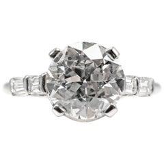 Art Deco 2.38 Carat Old European Cut Diamond Platinum Engagement Ring