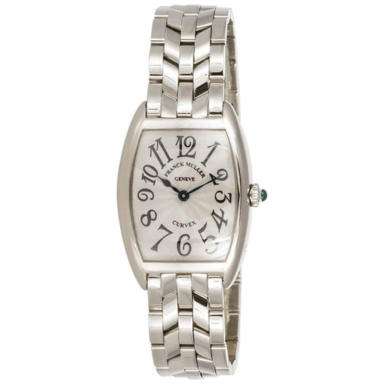 Franck Muller Ladies 18k White Gold Cintree Curvex Wristwatch Ref 1752QZ