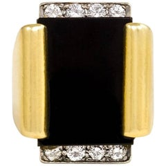 Cartier 1970s Gold Onyx Diamond Plaque Ring