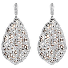 Lace Motif Diamond Rose Gold Earrings