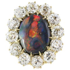 Black Australian Opal and Diamond Ring