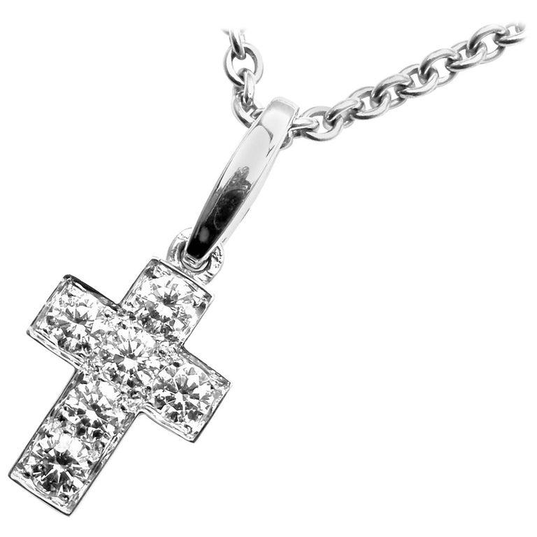 Cartier Cross Diamond White Gold Pendant Necklace