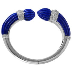 David Webb Lapis Lazuli Diamond Bangle