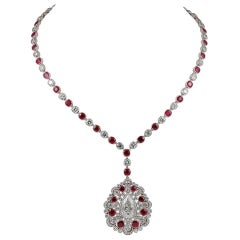 Diamond Ruby Platinum Long Necklace